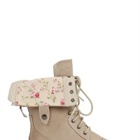 Combat Boot with Floral Fold Over Cuff