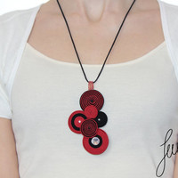 Awesome soutache, pendant handcrafted whit crystal Swarovski, unique, red jewelry
