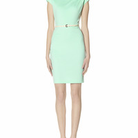 Belted Ponte Sheath Dress