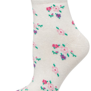 Cream Floral Lace Top Socks