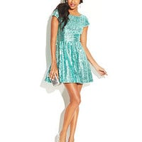 B Darlin Juniors' Cap Sleeve Sequined Dress