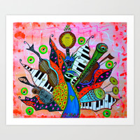 FEATHERED FANFARE Art Print by Adka