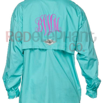 Monogrammed fishing shirt ladies from red elephant clothing for Monogrammed fishing shirts