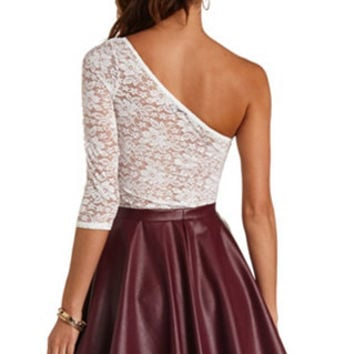 SHEER BACK ONE SHOULDER LACE TOP