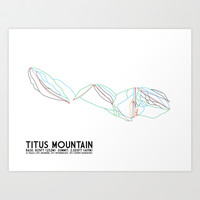 Titus Mountain, NY - Minimalist Trail Art Art Print by CircleSquareDiamond