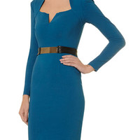 Teal Belted Bodycon Dress
