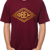 Obey Diamond Leaf Burgundy Tee Shirt