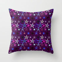 Crazy Stars on Purple Throw Pillow by pugmom4