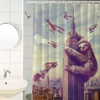 "Sharp Shirter Slothzilla Shower Curtains 70.8"" x 72"""