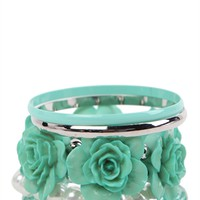 Stretch Bangle Set with Beads and Flowers