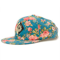 Obey Women's Floral Turquoise Throwback Baseball Strapback Hat