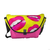 Sassy Lips fluorescent Pink Rickshaw Messenger Bag