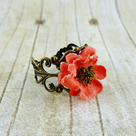 Rustic Rose Pink Rose & Bronze Filigree Ring by rubyandsuejewelry