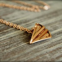 Paper Airplane Necklace, Available in Silver, Gold, and Rose Gold