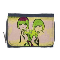 Vintage Sister Textured Pop Art Denim Wallet