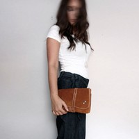 Agatha- Burnt Orange Clutch Made of Recycled Suede