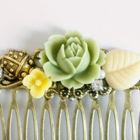 Yellow Mint English Rose Flower Rhinestone Collage Comb - OOAK Victorian Style Shabby Chic Flower Collage Hair Comb - Ladybug - VCC009