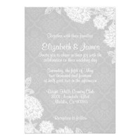 Elegant White Damask Wedding Invitations