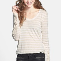 Living Doll Crochet Sleeve Stripe Tee (Juniors) | Nordstrom
