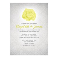 Trendy Floral White Damask Wedding Invitations