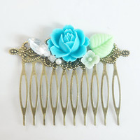 Ocean Blue Flower Rhinestone Collage Comb - OOAK Victorian Style Shabby Chic Flower Collage Hair Comb - Blue Mint - VCC014