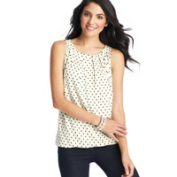 Polka Dot Print Pleated Front Shell