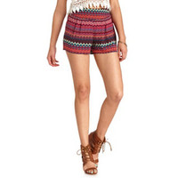 PLEATED TRIBAL CHEVRON HIGH-WAISTED SHORTS