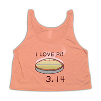 I Love Pi Crop Top Tank Top | 3.14 Pi Day Crop Top Tanktop