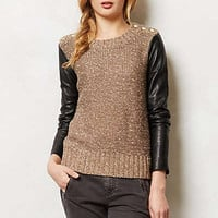 Leather Sleeve Pullover