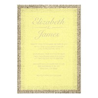 Yellow Vintage Burlap Wedding Invitations
