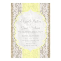 Yellow Vintage Linen Burlap Wedding Invitations