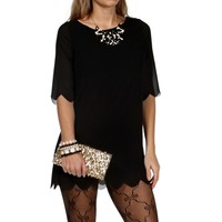 SALE-Black 34 Scalloped Sleeve Tunic