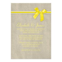 Yellow Rustic Burlap Wedding Invitations