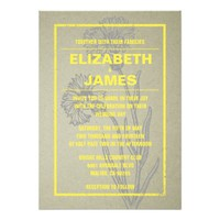 Rustic Vintage Yellow Wedding Invitations