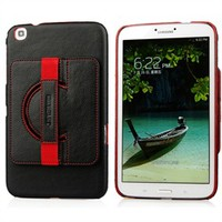 Black Red Rotating Kickstand Case with Handstrap for Samsung Galaxy Tab 3 8.0