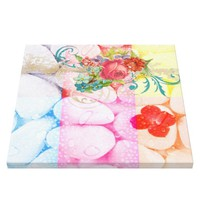 colorful squares water droplets vintage floral fun