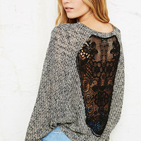 Staring at Stars Crochet Back Cropped Sweatshirt - Urban Outfitters