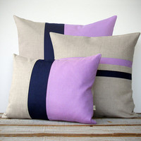 Colorblock Stripe Pillow Set - Radiant Orchid & Navy Blue Striped Pillow and Color Block Pillow Set by JillianReneDecor (Set of 3) - Easter