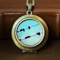 Photo locket Tweet black birds bird on a wire wearable by bomobob