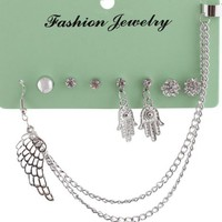 Silver Iced Out Hamsa & Assorted Style Stud Earrings Set with One Ear Cuff