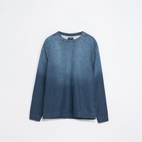 FADED DENIM SWEATSHIRT