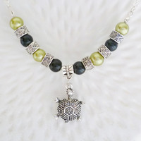 silver turtle necklace silver chain green black beads turtle charm fashion jewellery beaded necklace for women silver turtle charm necklace