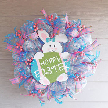 Pink and Blue Deco Mesh Easter Wreath from NOLACraftsbyDesign on