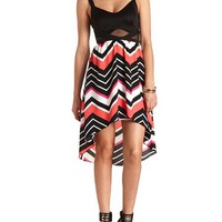 MESH CUT-OUT HIGH-LOW CHEVRON DRESS