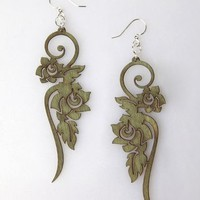 Green Tree Long Flower Wood Earrings - Apple - Punk.com