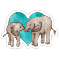 Baby Elephant Love - sepia on teal watercolour