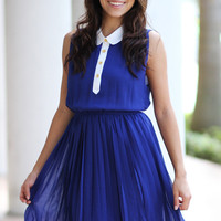 Royal Blue Pleats Dress - Furor Moda - Tops - Dresses - Jackets - Vintage