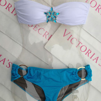 New Sexy Victoria's Secret Embellished Bandeau Bikini XS top M Bottom Jewel