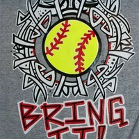 Hot Gift Southern Chics Funny Bring It Softball Sweet Girlie Bright T Shirt