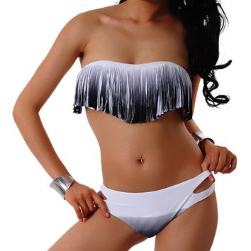 Skyey J Tassel Bikini Set Fringe Swimwear Top and Bottom Sexy Swimsuit